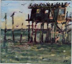 Oil painting by Rebekah Spencer - Thomas Guest House, Cedar Key, FL Cedar Key Florida, Old Florida, Florida Keys, Florida Living, Bed And Breakfast, Paths, Oil, Island, House