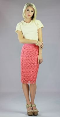 """Lace"" Skirt in Coral (I'm not LDS but I like this site for grown up clothes. )"