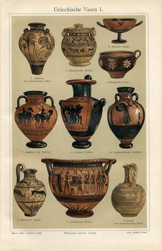 1894 Ancient Greece Vases Amphora Antique Chromolithograph Print | eBay
