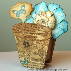 Layers of ink: Flower Pot, made with Eileen Hull's Sizzix Picket Fence dies.
