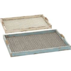 Decmode Wood and Fabric Tray, Set of 2, Multi Color, Multicolor
