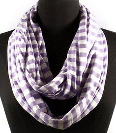 Purple and White stripped cotton infinity scarf~$10.
