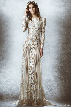 Zuhair Murad Bridal Fall 2015 Wedding Dresses | bateau neckline long sleeves leaf floral embroidered illusion sheath gown style mauriane