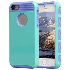 iPhone 5 Case,iPhone 5S Case, BENTOBEN 3 in 1 Hard Plastic Shell Silicone Hybrid iPhone 5 Cases Shock Proof Drop Resistance Anti-slip Cover for iPhone 5 5S, Purple+Purple | @giftryapp