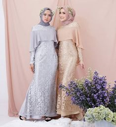 Image may contain: 2 people, people standing Dress Brokat Muslim, Dress Brokat Modern, Dress Pesta, Dress Brukat, The Dress, Dress Outfits, Bridal Hijab, Hijab Wedding Dresses, Malay Wedding Dress