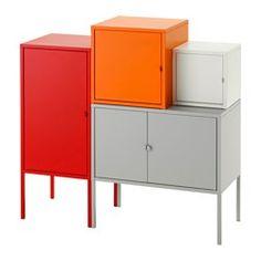 IKEA - LIXHULT, Opbergcombinatie, grijs/wit/oranje/rood, , Een kleurrijke, kant-en-klare combinatie voor het opbergen van grote en kleine spullen.Hou overzicht over belangrijke papieren, brieven en kranten door ze aan de binnenkant van de kastdeur te bevestigen.