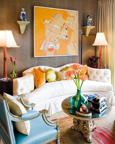orange living room accents