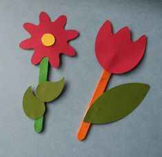 Popsicle stick flowers for Spring