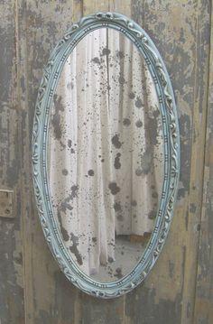 Shabby Aqua Oval French Bistro Mirror