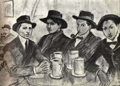 Drawing by Ricard Opisso dedicated to 'Els quatre gats', a venue in Barcelona opened on June 12, 1897.