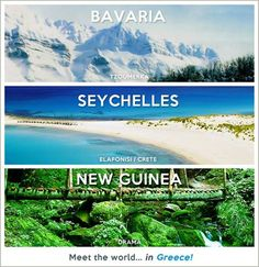 meet the world .in Greece.The pictures are from the places in Greece in small fonts. Places Around The World, Travel Around The World, Around The Worlds, Bucket List Destinations, Travel Destinations, Places In Greece, Paradise On Earth, Thessaloniki, Heaven On Earth