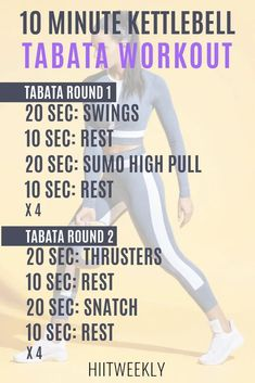 10 minute Tabata workouts with kettlebells that you can do at hojme. the plan consists of 2 Tabata workouts for a quick fat burning workout. Coaching, Tabata Workouts, Workout Kettlebell, Kettlebell Benefits, Tabata Training, Kettlebell Deadlift, Aerobic Exercises, Strength Training, Kettlebell Challenge