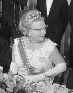 Queen Juliana of the Netherlands, wearing the pearl button tiara, grandmother to King Willem-Alexander.