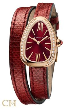 af27fd7e59061 BULGARI Serpenti watch in rose gold with red lacquered dial and diamonds -  March 10 2019 at