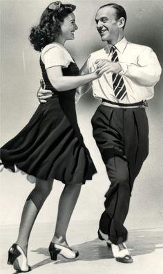 Paulette Goddard & Fred Astaire 40s swing dress print ad