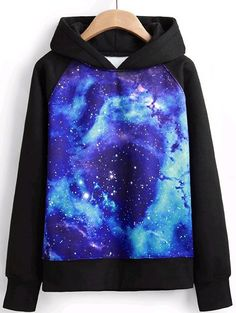 Shop Black Hooded Long Sleeve Galaxy Print Sweatshirt online. Sheinside offers Black Hooded Long Sleeve Galaxy Print Sweatshirt & more to fit your fashionable needs. Free Shipping Worldwide!