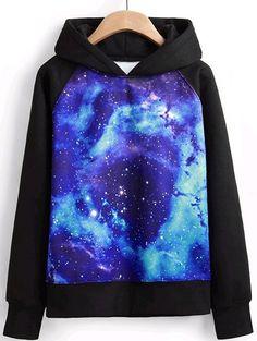 Shop Black Hooded Long Sleeve Galaxy Print Sweatshirt online. Sheinside offers Black Hooded Long Sleeve Galaxy Print Sweatshirt & more to fit your fashionable needs. Free Shipping Worldwide!