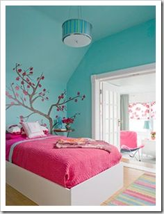 blue walls, hot pink with a pop of orange?  I think this might work!