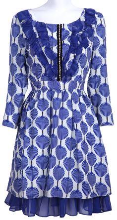 #SheInside Blue Half Sleeve Fan Print Chain Chiffon Dress - Sheinside.com