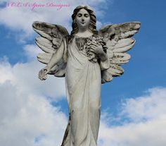 Angel in Clouds New Orleans Cemetery Photography