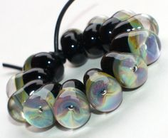 Set of 12 Water Drop Beads - Black Raku Multi Colour - Handmade Lampwork Glass Beads - Eye Beads