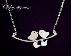 Bird necklace, family necklace, bird jewelry, personalize new baby shower gifts, STERLING SILVER, mothers day gifts, graduation gifts. $31.00, via Etsy.