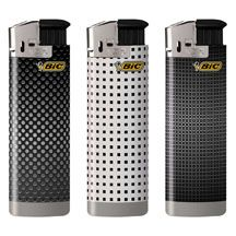The new BIC Gentlemen's Electronic Series Lighters with push-button ignition feature six luxurious, textured designs with rich gold, black and white patterns.