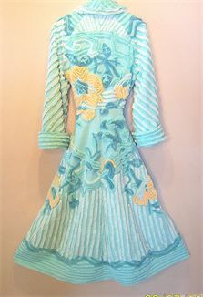 VINTAGE CHENILLE: Turquoise and sunflower yellow FLORAL