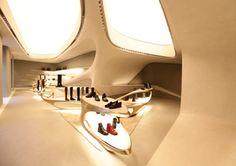 Futuristic Architecture, Stuart Weitzman shoe boutique by Zaha Hadid Zaha Hadid Architecture, Space Architecture, Futuristic Architecture, Organic Architecture, Architecture Interiors, Interior Ceiling Design, Shop Interior Design, Retail Design, Zaha Hadid Design