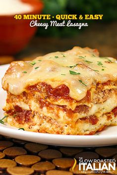 40 Minute Quick and Easy Cheesy Meat Lasagna #Italian #recipe #simplerecipe *** Visit our website now!