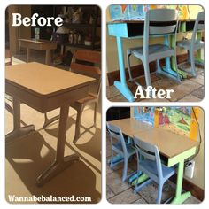 Found these two old school desks at a yard sale last weekend. They are perfect for my little craft/homeschool area. The table I had before was too small. #homeschool