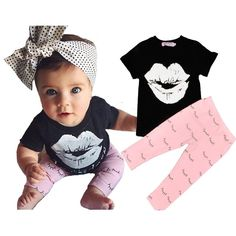 a863860e36956 Baby Girl Clothing Sets Summer Shirt Lips Girls Clothing Set Kids Girls  Outfits Summer T Shirt
