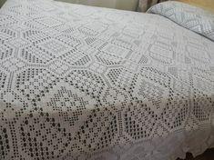 Crochet.Cubierta de cama de ganchillo. Bed cover – Tijeras y cuchara Crochet Bedspread Pattern, Crochet Patterns, Diy Crafts Hacks, Filet Crochet, Bed Covers, Crochet Clothes, Bed Spreads, Bed Sheets, Blanket