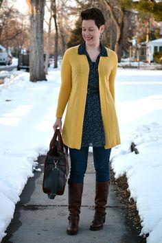 Already Pretty outfit featuring yellow boyfriend cardigan, star print tunic, skinny jeans, Frye Vera Slouch boots, J.W. Hulme bag