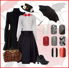 Jamberry Nails nail wraps. Mary Poppins inspired. http://staceycoons.jamberrynails.net/