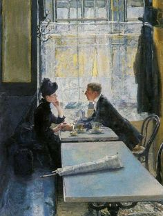 Gotthardt Johann Kuehl (1850-1915) - Lovers in a cafe