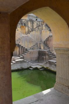 stepwell in Amber fort in Jaipur Rajasthan in India