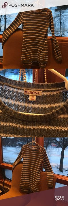 New Merida Size small New  merona sweaters  /dresses Size ladies small grey with white stripes Merona Sweaters Crew & Scoop Necks
