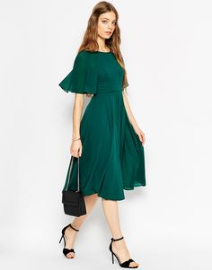 Image 4 of ASOS Lace Up Back Caftan Sleeve Midi Dress