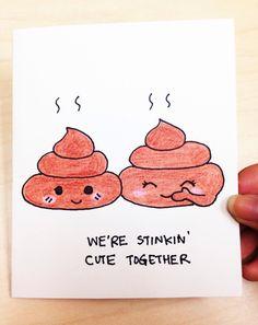 Cute love card, Funny valentine card, Cute Valentine card, poop joke, funny card for boyfriend, girlfriend, hand drawn anniversary card by LoveNCreativity on Etsy https://www.etsy.com/listing/214097332/cute-love-card-funny-valentine-card-cute