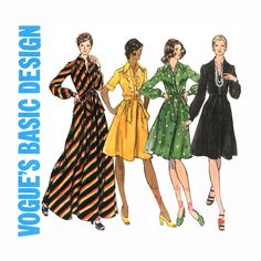 1970s Vogue 2932 Dress Pattern Bust 32 Shirtwaist Blouson Full Skirt Day Evening Formal Maxi Cocktail Length Womens Vintage Sewing Patterns