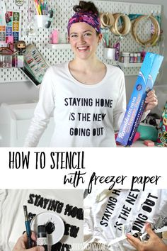 Cover up small stains or just refashion a plain shirt with freezer paper stencils! This is a beginner friendly craft that anyone can do; use them to make fun diy graphic tees and more. Diy Craft Projects, Craft Tutorials, Sewing Tutorials, Fun Crafts, Sewing Projects, Paper Crafts, Felt Projects, Sewing Ideas, Sewing Crafts