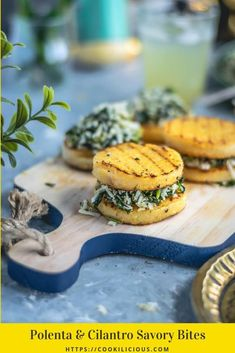 Looking for an easy & quick fun appetizer? Then try these Polenta & Cilantro Savory Bites. Stuffed with special masala, they are yummy, vegan & gluten-free. #ad #ancientharvest #polenta #glutenfree #vegan #vegetarian #cornmeal #partyfood #appetizer #snack #grilled #summerrecipes #easy #fingerfood #cilantro #coconut