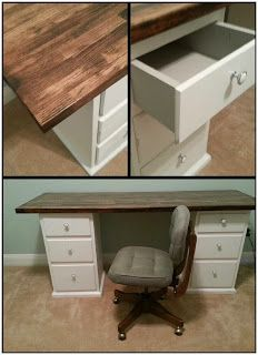 DIY Office desk made from thrift store nightstands and butcher block counter top - LOVE the gray detail inside the drawers!