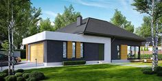Find home projects from professionals for ideas & inspiration. Projekt domu HomeKONCEPT 27 by HomeKONCEPT Village House Design, House Front Design, Modern House Design, Layouts Casa, House Layouts, House Roof, Facade House, Beautiful House Plans, Beautiful Homes