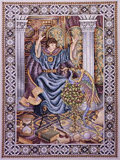 """The Enchanter"" by Teresa Wentzler: It took me 5 years to cross-stitch this design (2008-2012), but the work was well worth it!  I'm entering it in the State Fair next month..."