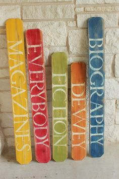 My Junk Obsession: Library Signs From picket fence boards. - I like that it says Dewey, not nonfiction