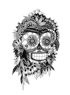 Day of the Dead meets Zentangle!! Artwork of L'Daim Fille.