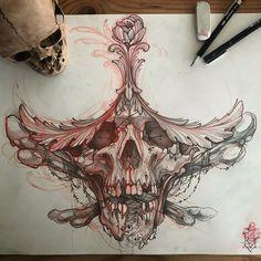 Skull Tattoo Design, Tattoo Design Drawings, Skull Design, Tattoo Sketches, Tattoo Designs, Creepy Tattoos, Skull Tattoos, Body Art Tattoos, Sleeve Tattoos