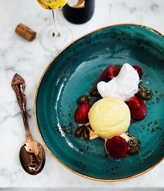 Lemon ice-cream with strawberries, rose and shortbread recipe | Gourmet Traveller recipe - Gourmet Traveller